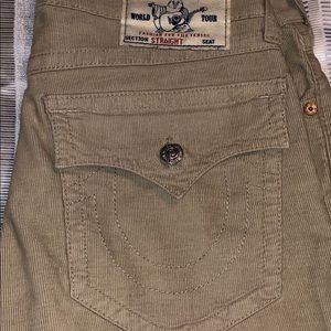 True Religion khaki corduroy jeans